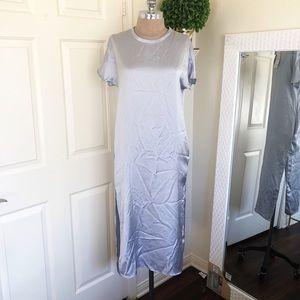 ZARA NWT SILVER SATIN DRESS WITH POCKETS XS
